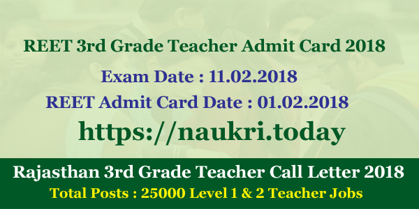 REET 3rd Grade Teacher Admit Card 2018