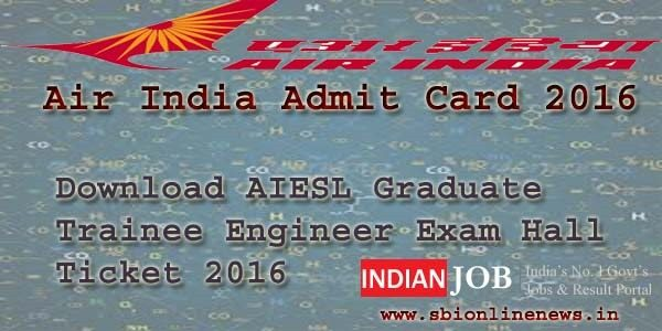 Air India Admit Card 2016
