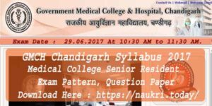 GMCH Chandigarh Syllabus 2017 Medical College Senior Resident Exam Pattern, Question Paper @ gmch.gov.in