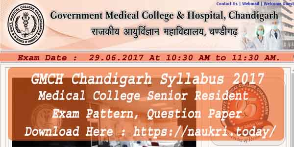 GMCH Chandigarh Syllabus 2017