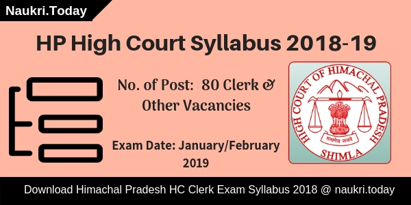 HP High Court Syllabus 2018-19