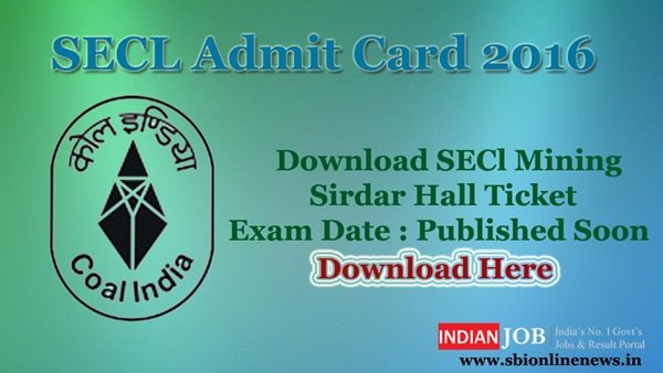 SECL Admit Card 2016