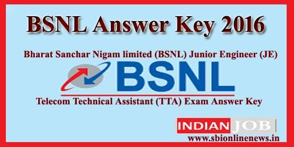 BSNL Answer Key 2016