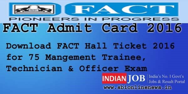 FACT Admit Card 2016