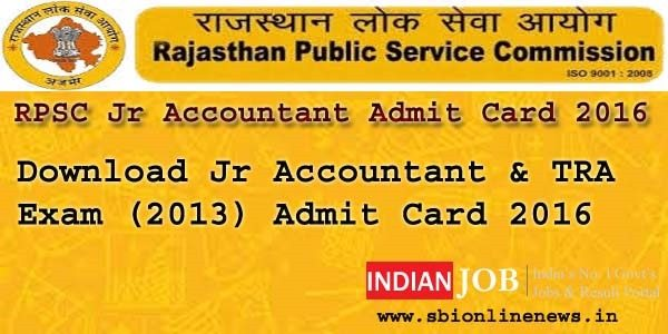 RPSC Jr Accountant Admit Card 2016