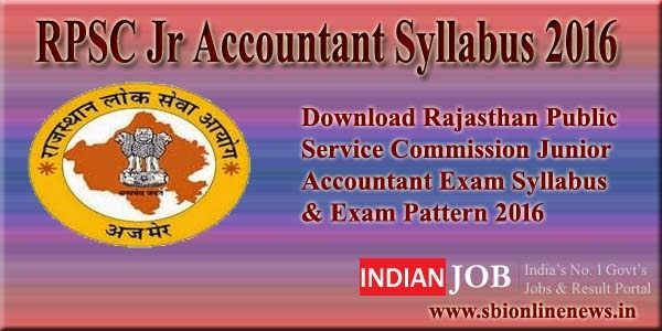 RPSC Jr Accountant Syllabus 2016