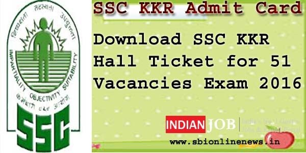 SSC KKR Admit Card 2016