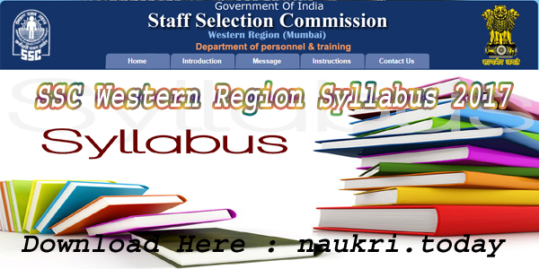 SSC Western Region Syllabus 2017