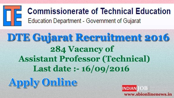 DTE Gujarat Assistant Professor Recruitment 2016