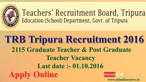 TRB Tripura Recruitment 2016