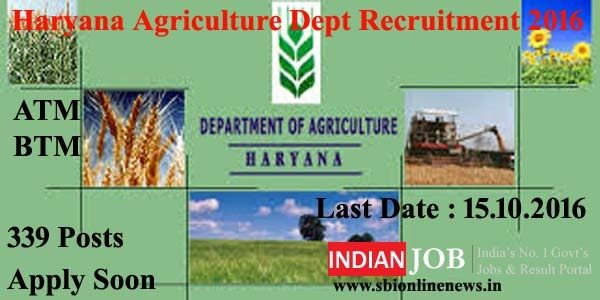 Haryana Agriculture Dept Recruitment 2016