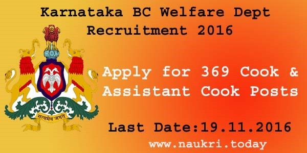 Karnataka BC Welfare Dept Recruitment 2016