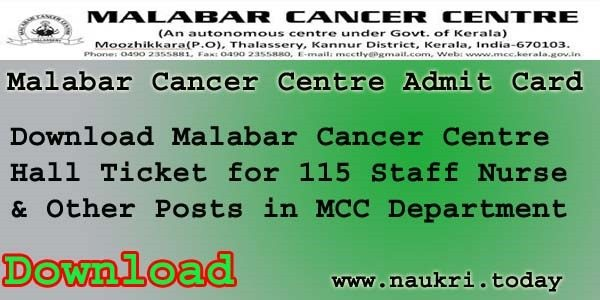 Malabar Cancer Center Admit Card 2016