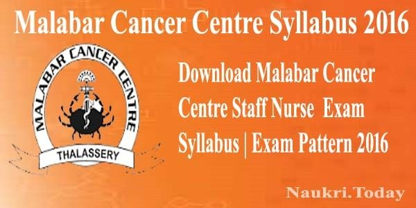 Malabar Cancer Centre Syllabus 2016