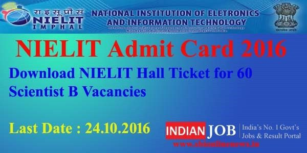 NIELIT Admit Card 2016