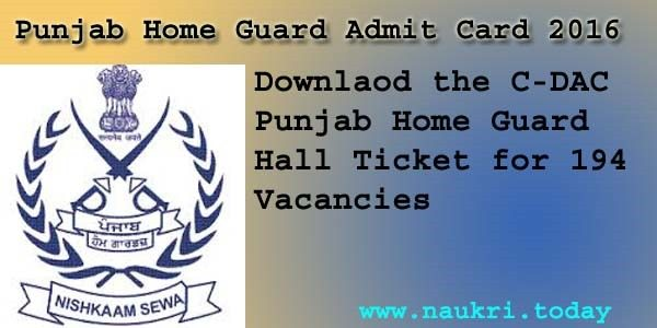 Punjab Home Guard Admit Card 2016