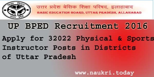 UP BPED Recruitment 2016