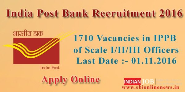 India Post Bank Recruitment 2016