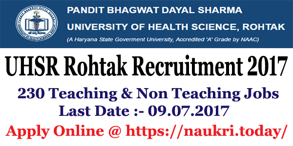 UHSR Rohtak recruitment 2017