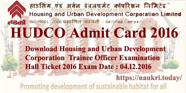 HUDCO Admit Card 2016