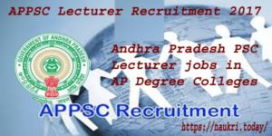 APPSC Lecturer Recruitment 2017 | AP Lecturers in Government Degree Colleges Group II 504 Govt. Jobs