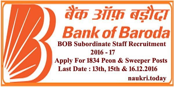 BOB Subordinate Staff Recruitment 2016 - 17
