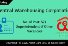 CWC Admit card
