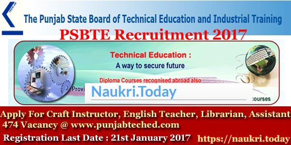 PSBTE Recruitment 2017 - Department of Technical Education and Industrial Training, Punjab
