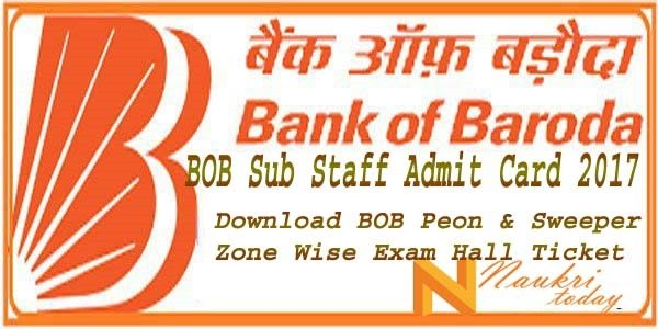 BOB Sub Staff Admit Card 2017