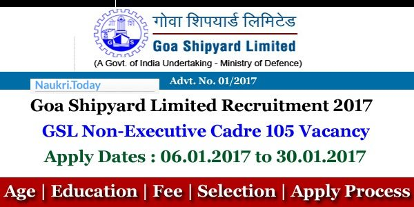 Goa Shipyard Limited Recruitment 2017