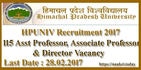 HPUNIV Recruitment 2017