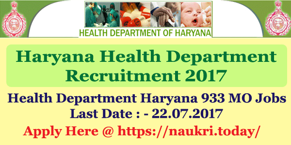 Haryana Health Department Recruitment 2017