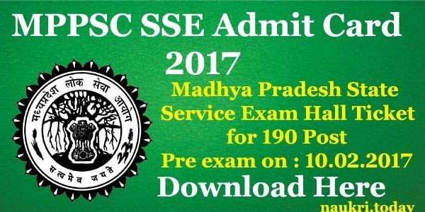 MPPSC SSE Admit Card 2017