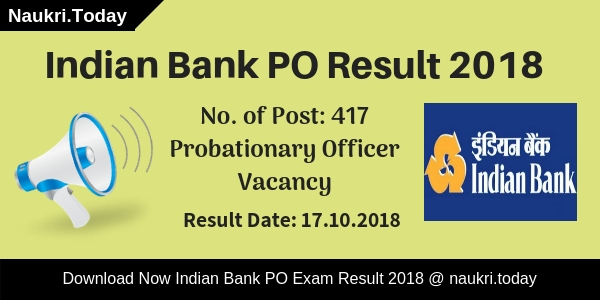 Have you participate in Indian Bank Probationary Officer Prelims Exam 2018??? If yes, then you also waiting for Indian Bank PO Result 2018 for Prelims Exam. You visit a right place, here you get all information regarding Indian Bank PO Exam Result 2018. The department has conducted Probationary Officer Preliminary examination on 06th October 2018. After that, the bank will conduct main examination according to how many candidates are qualified the Prelims examination? You can collect your Indian Bank PO Prelims Result on 17th October 2018 (Tentative date). Candidates can download their scorecard using registration no. and password information. Rest of information you can collect on below paragraphs. Indian Bank will announce Probationary Officer Prelims Exam Result 2018. Those candidates have participated in the examination are eagerly waiting to download Indian Bank PO 2018 Result. Applicants those are qualified preliminary examination can participate in the mains examination. Indian Bank PO Main Exam 2018 will going to held on 04.11.2018. Furthermore, such as how to collect Indian Bank Probationary Officer Result? & other you may require to read full article properly. What is the Summary of Indian Bank PO Result 2018? Indian Bank Probationary Officer Prelims Result Name of Bank: Indian BankAvailable no. of posts: 417 VacanciesName of Post: Probationary OfficerExam Name: Indian Bank PO Exam 2018Category: Indian Bank PO Exam ResultDate of Preliminary Examination: 06th October 2018Main Examination Date: 24.10.2018Declaration of Indian Bank PO Prelims Result 2018: 17th October 2018Mains Exam of Probationary Officer held on: 04th November 2018Status of Indian Bank PO Result 2018: Available SoonOfficial website: indianbank.in Highlights of Indian Bank Probationary Officer Exam 2018 The Indian Bank had issued notification for filling up 417 vacancies of Probationary Officer. The release date of notification is 01.08.2018. Indian Bank PO Jobs online application form is available from 01.08.2018 to 27.08.2018. Applicants will get select according to Preliminary Examination, Main Examination and Interview. Indian bank has conducted Probationary Officer Preliminary Examination on 06th October 2018. A large number of applicants have participated in the examination. Now the applicants are eagerly waiting for Indian Bank PO Result 2018 of Prelims Exam. The department will announce Indian Bank PO Prelims Result on 17th October 2018. Applicants can collect their scorecard either here or official site. In below section, we also mentioned the direct link to download Indian Bank PO Exam Result 2018. Those candidates are quality the prelims exam are eligible to participate in mains examination. The PO Main Exam will held on 04th November 2018. So must qualify the prelims exam to appear in next round and collect your Indian Bank Probationary Officer Result from here. Selection Procedure of Indian Bank Probationary Officer Exam 2018 – Check PO Main Exam Pattern Selection of the candidates will made on the basis on performance in Prelims Exam, Main Exam and Personal Interview. Final selection will made according to marks obtained in Mains Exam and Interview. Therefore, first applicants must qualify the preliminary exam then after how to crack Indian Bank PO Main Exam tips is mention below. What is the Exam Pattern of Indian Bank PO Mains Exam 2018? Those candidates are check Indian Bank PO Result 2018 and qualify the examination also check Main Exam pattern to get good marks in the exam. Indian Bank will organize mains examination on 04th November 2018.  There are 200 objective Multiple questions asked which carry 200 marks. Duration of objective question paper is 60 minutes. 02 descriptive questions also asked in the examination. The descriptive paper carry 50 marks and the duration will be 30 minutes. Applicants must read Main examination pattern, which is given as under. Section No of Questions Maximum Marks Time of Duration Objective type Test Reasoning 50 50 Composite time of 1 hour English language 40 40 Quantitative Aptitude 50 50 General Awareness(with special reference to Banking Industry) 40 40 Computer Knowledge 20 20 Total 200 200 – Descriptive type Test English Language (Letter Writing & Essay) 02 50 30 minutes To download Indian Bank PO Mains Exam Syllabus Click Here. How Many Marks Secured in Preliminary Exam to Attend Next Round? Indian Bank PO Cut Off Marks Applicant those want to attend the mains examination must qualify the preliminary exam. Check your marks on your Indian Bank PO Result. Then after check, the minimum qualifying marks to attend the next round. It is necessary, because those candidates have minimum qualifying marks are eligible to attend the mains examination. The department will announce Indian Bank PO Prelims Cut Off Marks according to subject wise and category wise. Here we mention, expected Indian Bank PO Cut off Marks, which is mention as under. Section Wise Indian Bank PO Prelims Exam Cut Off Marks Sections General OBC SC ST English 10-12 8-10 6-8 4-6 Reasoning 13-15 10-12 7-9 4-6 Quant 10-12 9-11 7-9 6-8 Overall Indian Bank PO Minimum Qualifying Marks – Category Wise Category Overall PO Exam Cut Off General 55-60 OBC 48-53 SC 38-43 ST 35-40 How to Download Indian Bank PO Result 2018? Collect Indian Bank Prelims PO Result Applicants can collect their Prelims PO Exam Result through online mode. The link to collect Indian Bank PO Exam Result is available here as well as official site. If you can't understand how to get your Indian Bank PO Scorecard then you can follow some easy steps. First of all go to the official site indianbank.com Click on the link collect Indian Bank PO Prelims Exam Result 2018. Then a new window will open on your screen. Enter your registration no. and password on the given dialogue box. Submit your information and then again a new window will open. Your Indian Bank PO Result is now available in front of you. You can directly download it to click on below link. Important Links to Download Indian Bank PO Prelims Result 2018 Collect Here Indian Bank Probationary Officer Result 2018 (Available Soon)Get Here PO 2018  Recruitment NotificationDownload Indian Bank PO Hall Ticket 2018 You May Also Check:Rajasthan RSMSSB LDC Exam Result 2018Railway RRB Loco Pilot & Technician Result 2018NIACL Mains Exam 2018 ResultRajasthan RAS Exam 2018 Prelims Result Conclusion: Indian Bank will announce Probationary Officer Result 2018. The tentative date to collect Indian Bank PO Result is 17th October 2018. Applicants can download their Probationary Officer Exam Result to click on above links. After that, qualify candidates will call to attend the mains examination.