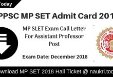 MP SET Admit Card