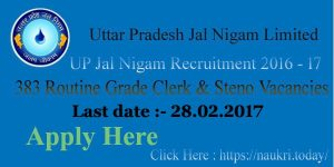 UP Jal Nigam Recruitment 2016 – 17 For UPJN 383 Routine Clerk & Steno Vacancy