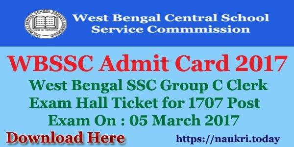 WBSSC Admit Card 2017