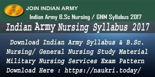Indian Army Nursing Syllabus 2017