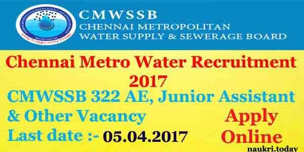 Chennai Metro Water Recruitment 2017