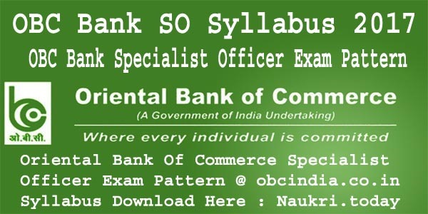 OBC Bank SO Syllabus 2017