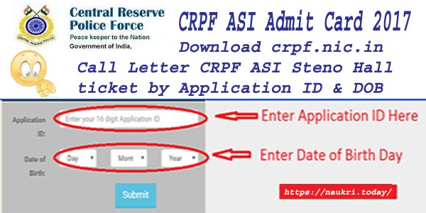 CRPF ASI Admit Card 2017