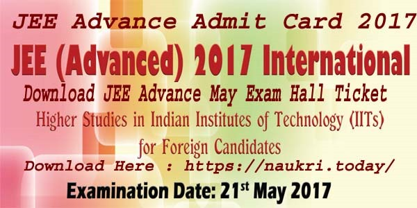 JEE Advance Admit Card 2017