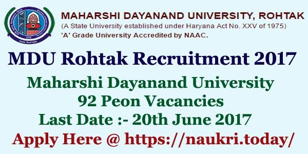 MDU Rohtak Recruitment 2017