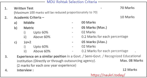Procedure of MDU Rohtak Peon Vacancy Examination