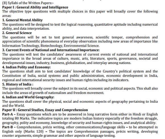 CAPF Syllabus for Paer 1 & 2