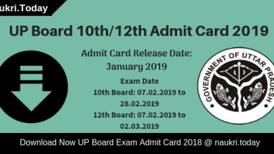 UP Board Admit Card