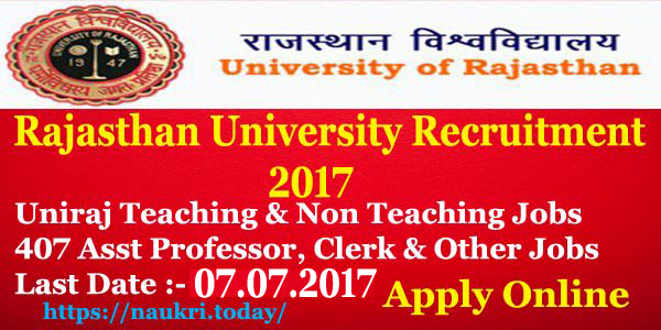 Rajasthan University Recruitment 2017