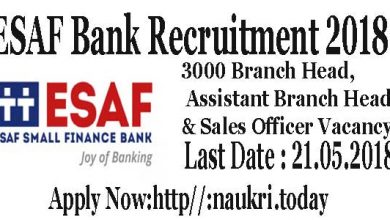 ESAF Bank Recruitment 2018