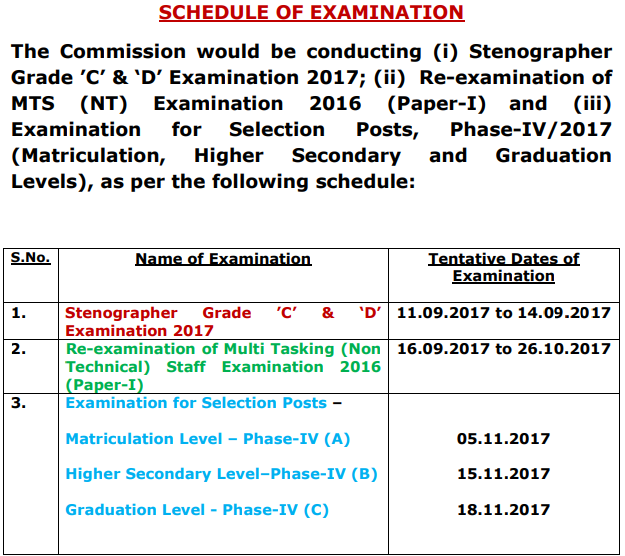 SSC Exam Schedule