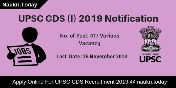 UPSC CDS Notification 2019